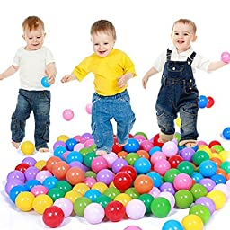E Support 200PCS Colorful Plastic Ball Pit Balls Baby Kids Tent Swim Toys Ball Pool Ball Ocean Ball