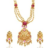 Violet and Purple Alloy Gold Plated Multi-Strand Necklace Set for Women (1000030526)