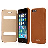 Labato Apple iPhone 5 / 5S Leather Case Cover Compatible with IOS 7 – New Arrival Luxury Handmade Genuine Leather Carrying Folio Case Protective Case Shell Skin with Windows / Cutouts to Show Time and Incoming Calls – Retail Packaging – New Hot Sale Lbt-IP5-15C20 + Brown Color by Leather Factory Outlet