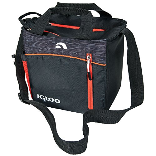 Igloo 00059964 Stowe Mini City Insulated Soft Cooler (9 Cans), Black/Orange (Orange Cooler Bag compare prices)