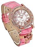 Disney ディズニー ミニーリボン チャーム 腕時計 ピンク × ミックスカラー 文字盤 本牛革 ベルト スワロフスキー [並行輸入品]