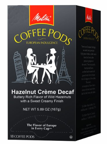 Melitta Hazelnut Crème Decaf Coffee Pods, 18 Count (Pack of 4)