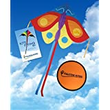 "#1 Butterfly Tail Kite, Easy Flyer Single Line 55"" Kite, Includes Kite Flying 101 Guide & Free 8 Inc"