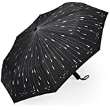 Umbrella, PLEMO Automatic Folding Travel Compact Umbrella, Raindrops Black