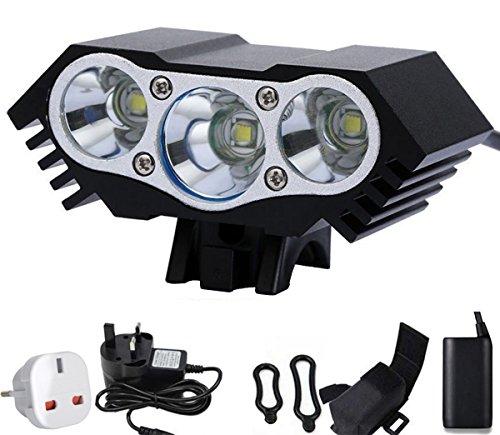 Aokon AL300 3600 lumen 3x CREE XML U2 LED luce della bici della bicicletta del faro - 4x18650 batteria ricaricabile impermeabile pacchetto 6400mAh - 4 modalità di commutazione