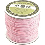 1mm Nylon Pink Bracelet Braided Rope Chinese Knot Rat Tail Cord 150 Meters