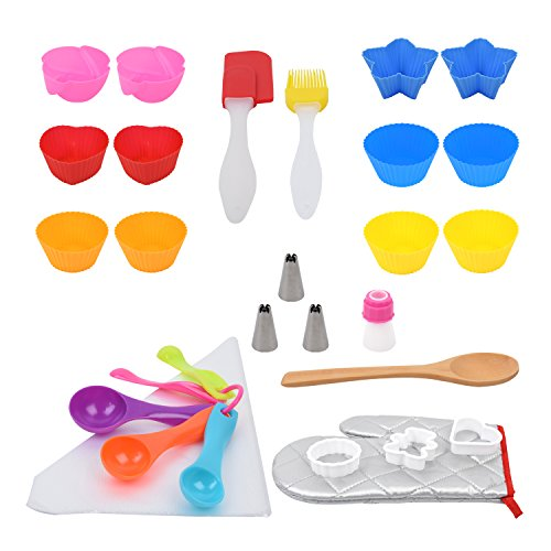 40 piece Cupcake Baking kit, Great Baking Set and Gift Ideas, Cutest Colorful Silicone Bake Cookie Set for Kids Age 4 Older Children and Adults
