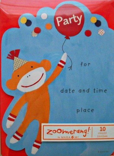 Sock Monkey with Balloons Party Invitations by Mara Mi for Zoomerang at 'Sock Monkeys'