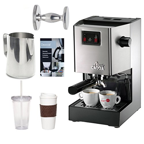 Gaggia 14101 Classic Espresso Machine Brushed Stainless Steel + 2-Pack Coffee Mug & Iced Beverage Cup + Accessory Kit (Gaggia Valve compare prices)