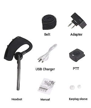 Bluetooth Wireless Adaptor +PTT Headset for Kenwood TYT BAOFENG UV5R Radio HB-6A