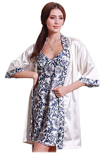 Olivery Womens Gorgeous Faux Silk Sleepwear Loungewear Dress & Robe 2 Pcs Set Dark Blue,One Size