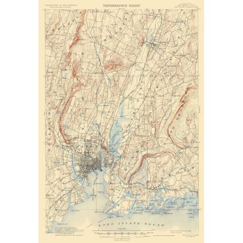 USGS TOPO MAP NEW HAVEN QUAD CONNECTICUT (CT) 1892 Home & Kitchen