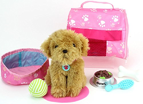Pets-for-18-Inch-Dolls-Complete-Puppy-Dog-Play-Set-Perfect-Doll-Toy-fit-for-18-Inch-American-Girl-Dolls-More-Cuddly-Dog-Leash-Carrier-Bed-Food-Play-Dog-Accessories