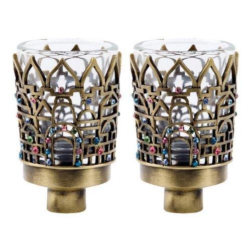 Jeweled Brass Neronim / Votive Candle Holders