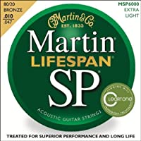 10-Pack Martin MSP6000 Lifespan 80/20 Bronze Acoustic Guitar Strings