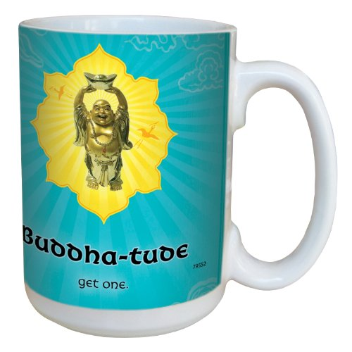 Tree-Free Greetings 79552 Funky Buddha Buddhatude Art by Duirwaigh Gallery Ceramic Mug with Full-Sized Handle, 15-Ounce, Multicolored