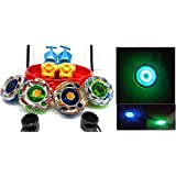 Saffire 4 Big Metal Beyblades With Led Lights, 4 Launchers, 1 Big Stadium, 2 Spring Action Launchers