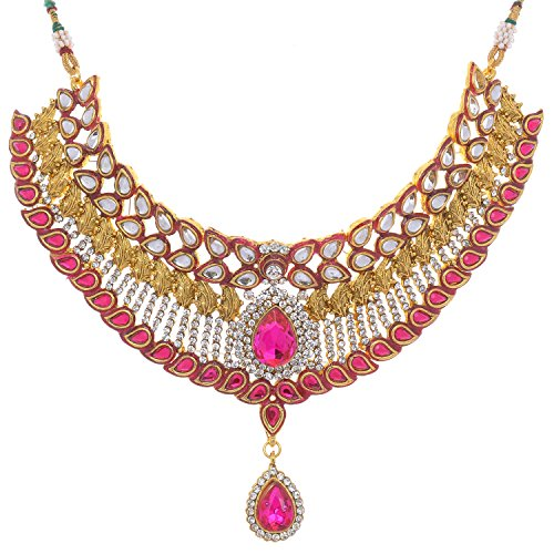 Aditri Aditri Rani Colour Cubic Zirconia Necklace For Women (Multicolor)