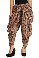 Brown Printed Dhoti Pants for Girls & Women in Cotton - Free Size Harem Pants in Cotton - Ankle Length - by Ankita