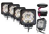 Amilliastyle LED 作業灯 ワークライト 27W 12V 24V兼用 広角 9連 防水 自動車LEDライト 4個セット 1年保証(27W-S*4)