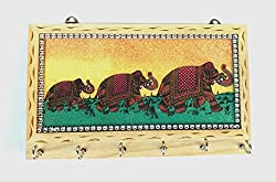 Rastogi Handicrafts Wooden Gemstone Painting 6 Hook Key Holder Wall hanging