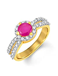 Pissara Surveen Chawla Collection Luxurious Gold And Rhodium Plated CZ And Ruby Studded Ring For Women
