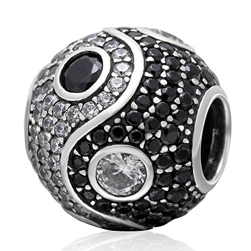 Charmstar Yin Yang Charm with Clear and Black Cubic Zirconia Authentic Sterling Silver Birthstone Tai Chi Symbol Bead for European Bracelet