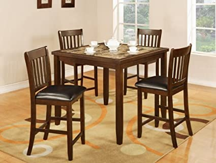 Primo International Pub Height Espresso Dining Set with Faux Marble Table Top and 4 Stools with Upholstered Seats