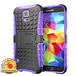 Hyperion Explorer 2-piece Hybrid Protective Cases for Samsung Galaxy S5 Cell Phone (S5 EXPLORER, PURPLE)