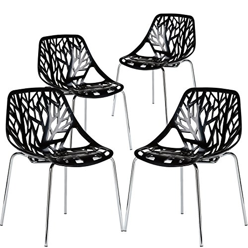 Poly and Bark Poly & Bark Birds Nest Dining Side Chair in black (Set of 4)