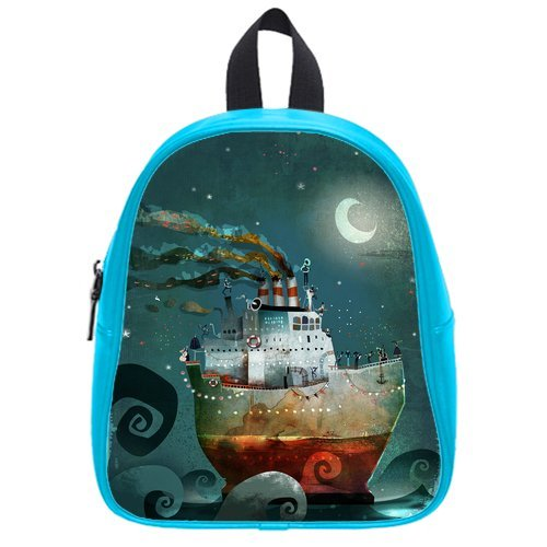 Generic Custom Painting Boat Moon Blue Sky Printed Deep Sky Blue School Bag Backpack Fit Short Trip Pu Leather Small front-976234