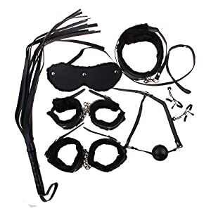 Zcargel 7pcs Bondage Kit Set Rope Ball Gag Furry Handcuffs Whip Collar
