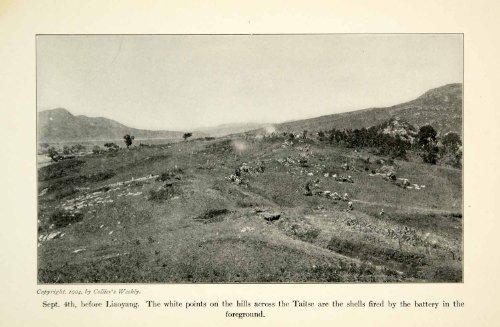 1904 Print Russo-Japanese War Liaoyang Battlefield Artillery Shells Combat Zone - Original Halftone Print