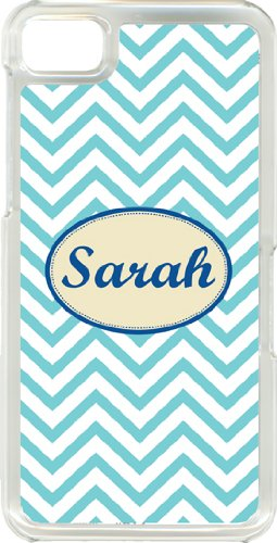 Different Color Monogram Chevron Designs On Blackberry Z10 Clear Tpu Hard Case Cover (Baby Blue)