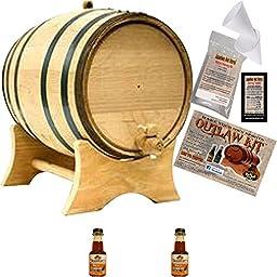 Outlaw Kit From American Oak Barrel - Make Your Own Wild Gobbler Bourbon (Natural Oak With Black Hoops, 2 Liter)