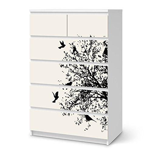 Klebefolie-Sticker-Aufkleber-fr-IKEA-Malm-6-Schubladen-hoch-Mbel-umgestalten-Dekor-Folie-Mbel-Folie-kreativ-einrichten-Schlafzimmer-Mbel-Gestaltungsideen-Design-Motiv-Tree-and-Birds-2