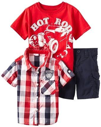 Nannette Little Boys' 3 Piece Hot Rod Short Set, Red, 3T