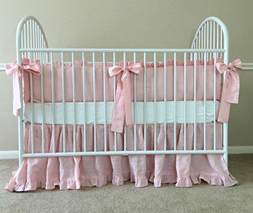 Pink Ruffle Baby Bedding Set - Crib Bumpers, Crib Skirt, Crib Sheets, Handmade Natural Linen Crib Bedding Set, Linen Baby Bedding Set, FREE SHIPPING (Linen Crib Bumper compare prices)