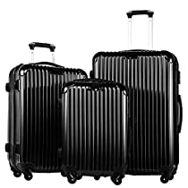 Coolife Luggage 3 Piece Set PC+ABS Suitcase with TSA Lock 20 inch 24 inch 28 inch (black)
