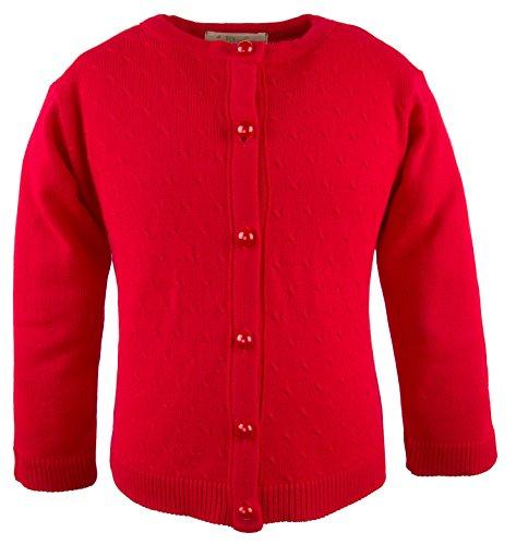De Poupee Baby Girls' Knit Cardigan Sweater 12-18 Months Red-