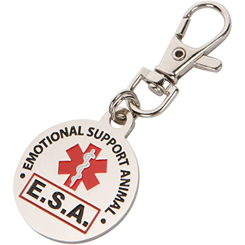 DOUBLE SIDED Emotional Support Animal (ESA) with Red Medical Alert Symbol 1.25 inch Durable Stainless Steel ID Tag. QUICK RELEASE metal lobster clamp allowing you to switch between collars and vest. (Double Sided Dog Id Tag compare prices)
