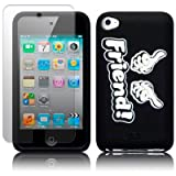 APPLE IPOD TOUCH 4TH GEN BLACK/WHITE INBETWEENERS INSPIRED FRIEND SILICONE SKIN CASE / COVER / SHELL + SCREEN PROTECTOR PART OF THE QUBITS ACCESSORIES RANGEby Qubits