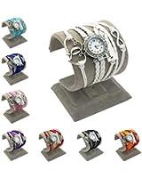 XT-XINTE Tissé 1 PCS Double Heart One Direction-horloge-cuir-montre-réveil avec rétro bracelet coloré