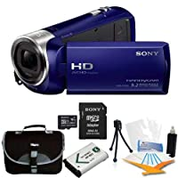 Sony HDR-CX240 HDR-CX240/L CX240 Full HD 60p Camcorder - Blue Bundle with 16GB High Speed Micro SD Card, Spare High Capacity Battery, Table top Tripod, Padded Case, LCD Screen Protectors, and Lens Cleaning Kit by Sony