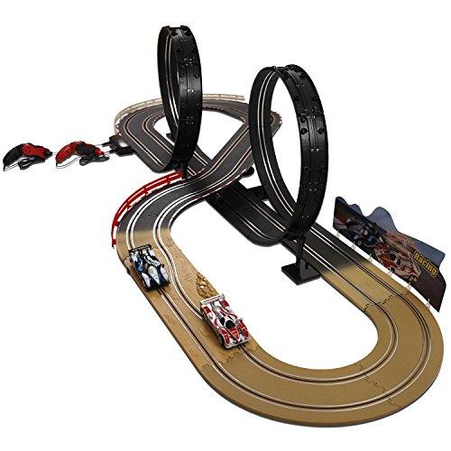 Kinder Autorennbahn Eco Rennbahn Racetrack 632cm lang mit 2 Loopings 1:43 Komplettset