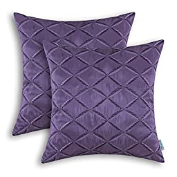 Pack of 2 CaliTime Pillow Shells Cushion Covers Faux Silk Diamonds Chain Geometric Embroidered 18 X 18 Inches Purple
