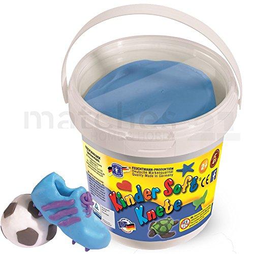 Feuchtmann KNETEIMER Kinder Soft Knete Knetmasse 500 gr. blau im wiederverschließbaren Eimer mit Tragegriff