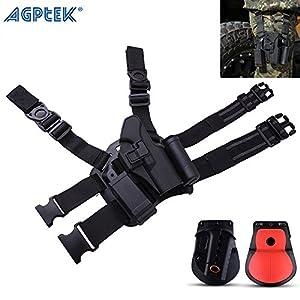 AGPtek Variable Tactical Military Drop Leg Gun Holster & Paddle & Belt Holster