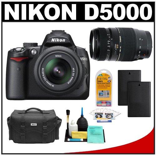 Camera Station |   Nikon D5000 Digital SLR Camera w/ 18-55mm VR Lens + Tamron 70-300mm Zoom Lens + Two (2) Spare EN-EL9 Batteries + Case + LCD Protectors + Cleaning Kit
