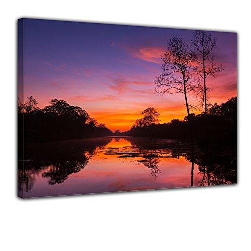 """Bilderdepot24 Leinwandbild """"Tropischer Sonnenuntergang"""" - 70x50 cm 1 teilig - fertig gerahmt, direkt vom Hersteller"""